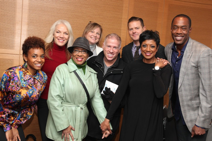 Broadway Inspirational Voices members with Clarke Thorell, Marva Hicks and Michael McElroy. Photo by Lia Chang
