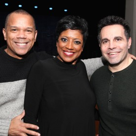 A guest, Marva Hicks and Mario Cantone. Photo by Lia Chang