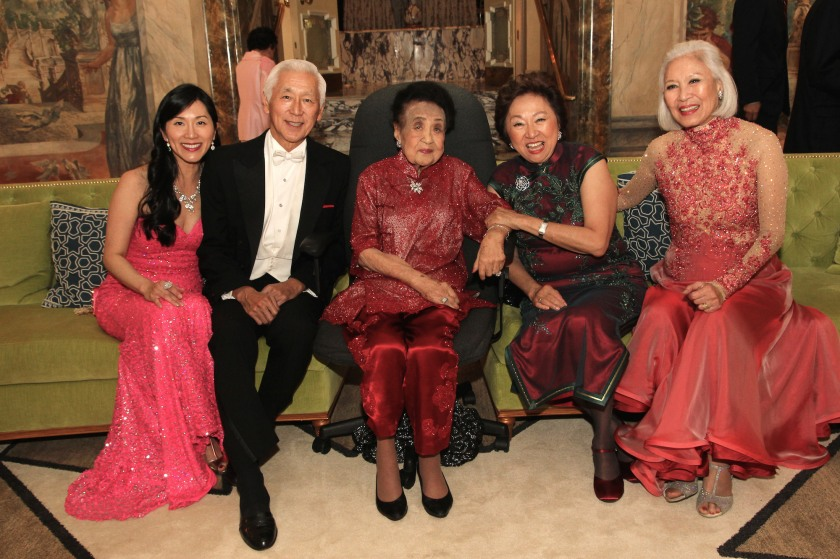 Agnes Hsu-Tang and her husband Oscar L. Tang, Juliana Young Koo and her daughters Shirley Young and Gene Young at Mrs. Koo's 111th birthday party at The Pierre in New York on October 2, 2016. Photo by Lia Chang