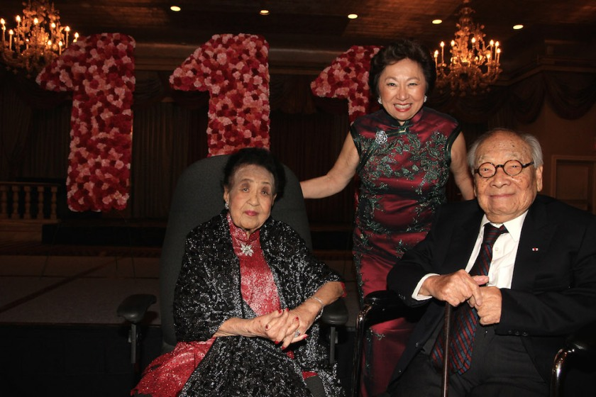 Mrs. Koo celebrates her 111th birthday with her daughter Shirley Young and architect I.M. Pei at The Pierre in New York on October 2, 2016. Photo by Lia Chang