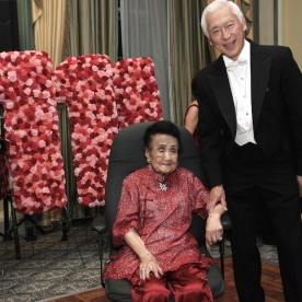 Mrs. Koo celebrates her 111th birthday with her son-in-law Oscar L. Tang at The Pierre in New York on October 2, 2016. Photo by Lia Chang
