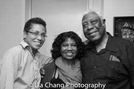 Janice Lane, a guest and Woodie King, Jr. Photo by Lia Chang