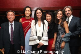 Jin Ha introduces his family to Julie Taymor and her husband Elliot Goldenthal. Photo by Lia Chang