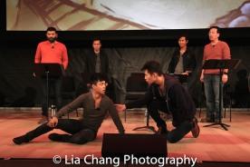 Jonny Lee Jr., Daniel J. Edwards and the ensemble. Photo by Lia Chang