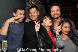 HERE LIES LOVE reunion: Conrad Ricamora, Kelvin Moon Loh, Diane Phelan, Billy Bustamante and Jonelle Margallo. Photo by Lia Chang