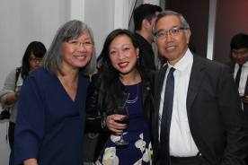 June Jee, a guest and Rocky Chin. Photo by Lia Chang