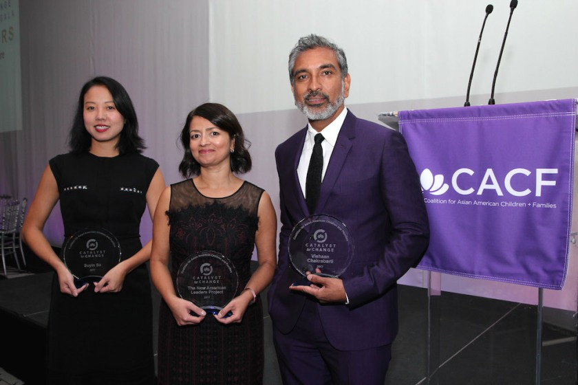(l-r) 2017 Catalyst for Change Honorees Suyin So, New American Leaders Project (NALP) Founder Sayu Bhojwani and Vishaan Chakrabarti. Photo by Lia Chang