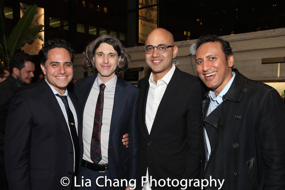"2013 Steinberg Playwright ""Mimi"" Award Winner Rajiv Joseph, Lucas Hnath, Ayad Akhtar and Aasif Mandvi. Photo by Lia Chang"