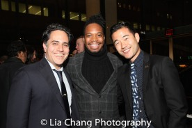 "2013 Steinberg Playwright ""Mimi"" Award Winner Rajiv Joseph, Keelay Gipson and Daniel K. Isaac. Photo by Lia Chang"
