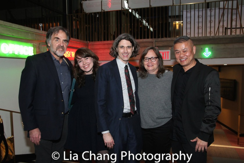 Playwrights Horizons Artistic Director Tim Sanford, Literary Director Sarah Lunnie, honoree Lucas Hnath, General Manager Carol Fishman and Victory Gardens Artistic Director Chay Yew. Photo by Lia Chang