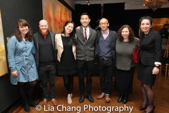 A guest, Joshua Kahan Brody, Jeena Yi, Daniel K. Isaac, Francis Jue, Abigail, Kristin Leahy. Photo by Lia Chang