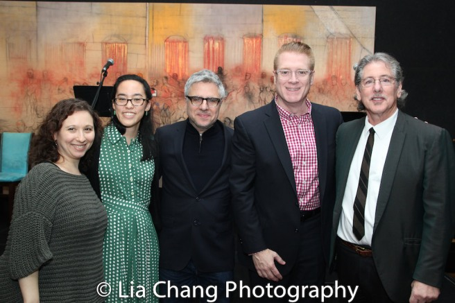 2017 Kesselring Prize winner Lauren Yee is flanked by Atlantic Theater's Director of New Play Development Abigail Katz, Artistic Director Neil Pepe, Managing Director Jeffory Lawson and director Michael Parva. Photo by Lia Chang