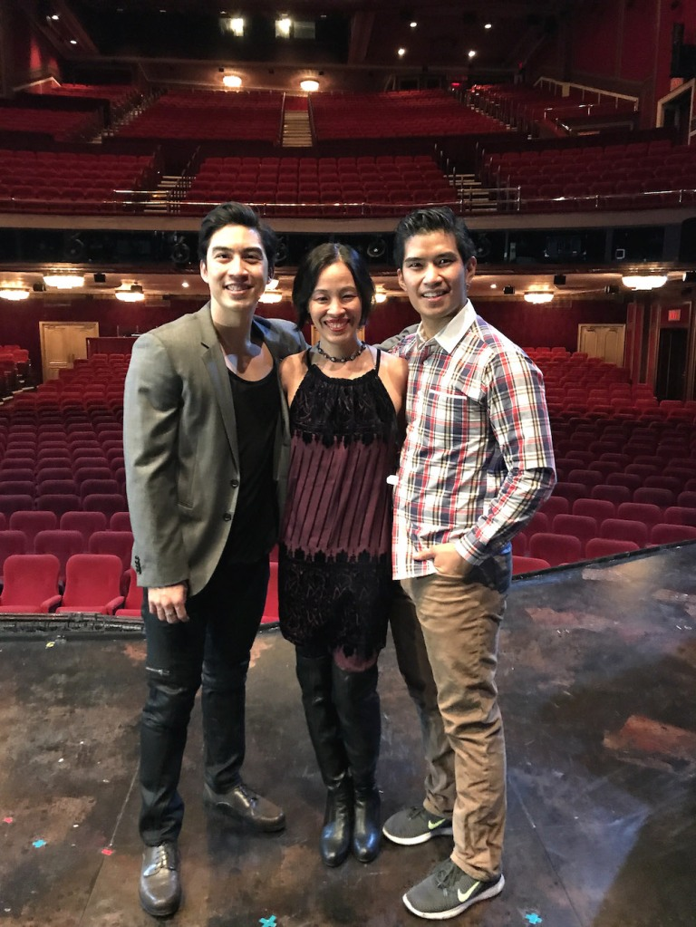 Devin Ilaw, Lia Chang, Christopher Vo on the set of MISS SAIGON at the Broadway Theatre. Photo by Garth Kravits