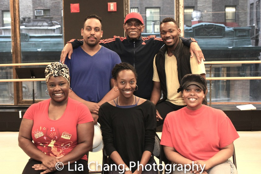(Front Row) Johmaalya Adelekan, Zurin Villanueva, Rheaume Crenshaw; (back row) David Samuel, André De Shields, Borris York. Photo by Lia Chang