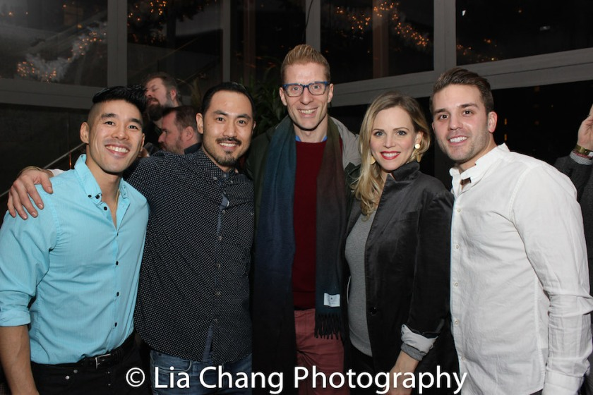 An ALLEGIANCE reunion with Chris Kong, Marcus Choi, Lorenzo Thione, Katie Rose Clarke, Dan Horn. Photo by Lia Chang
