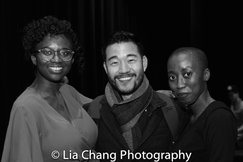 The Parsnip Ship host Iyvon Edebiri, playwright Daniel K. Isaac and The Actors Fund's Ashley Theagene. Photo by Lia Chang