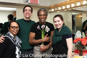 Emilya Cachapero, Bobby Moreno, André De Shields and Jessica Hernandez. Photo by Lia Chang