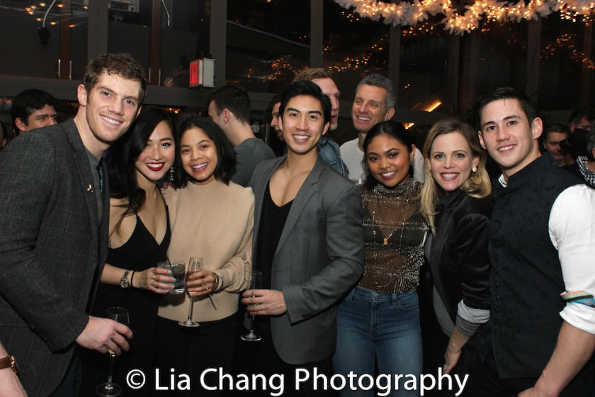 Alistair Brammer, Tiffany Toh, Eva Noblezada, Devin Ilaw, Linah Sta. Ana, Katie Rose Clarke, Warren Yang. Photo by Lia Chang