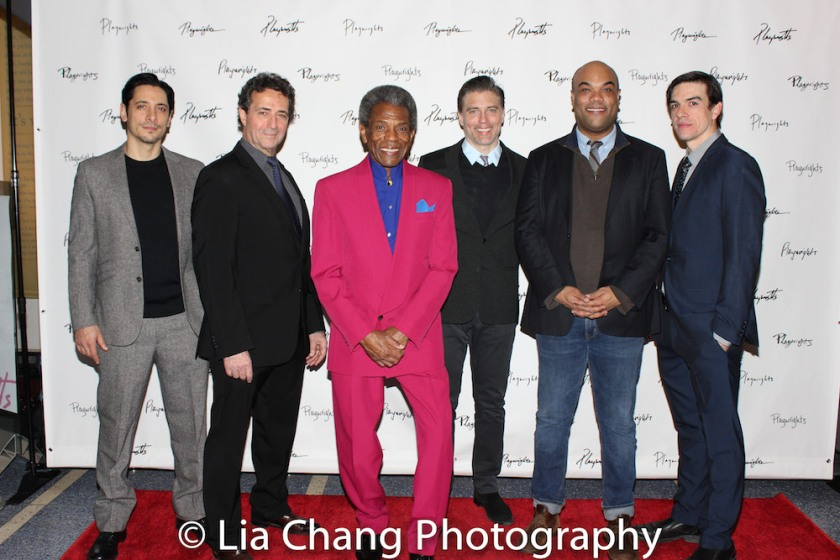 Ariel Shafir, Stephen Schnetzer, André De Shields, Anson Mount, David Ryan Smith and Bobby Moreno. Photo by Lia Chang