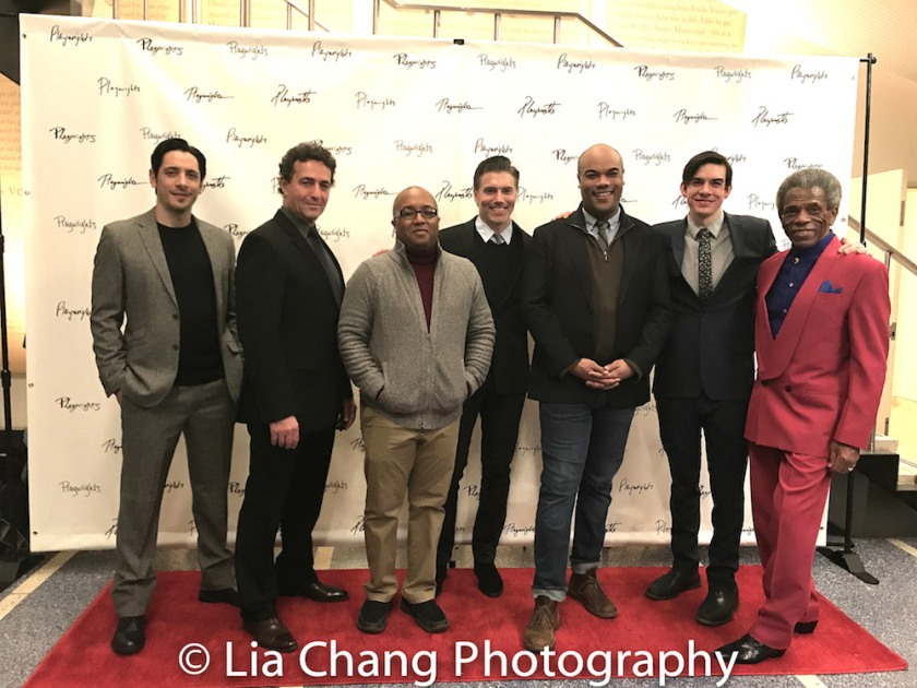 Ariel Shafir, Stephen Schnetzer, Robert O'Hara, Anson Mount, David Ryan Smith, Bobby Moreno and André De Shields. Photo by Lia Chang