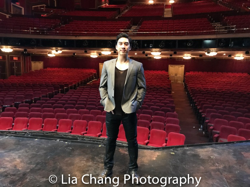 Devin Ilaw on the set of MISS SAIGON at the Broadway Theatre in New York on January 14, 2018. Photo by Lia Chang