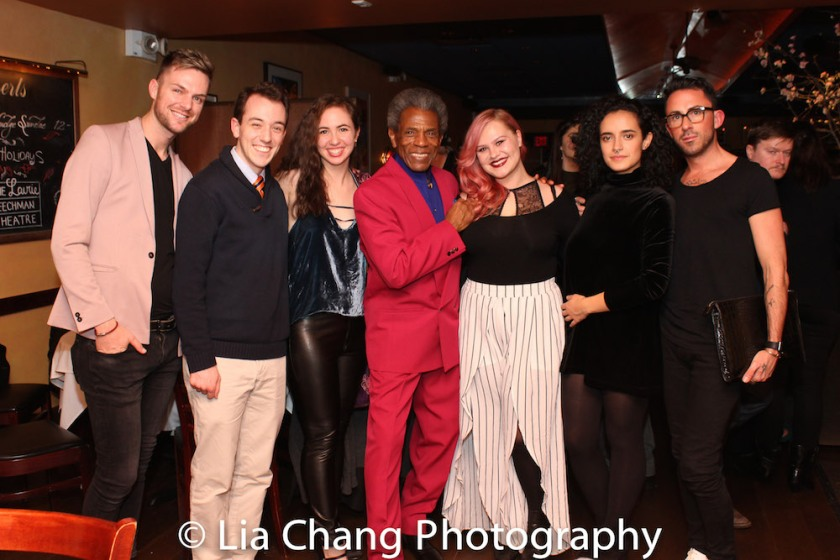 Troy Duhe, Alex Rafala, Jacqueline Ford, André De Shields, Ashley Robinson, Arianna Zapata, and Matthew Keyse. Photo by Lia Chang