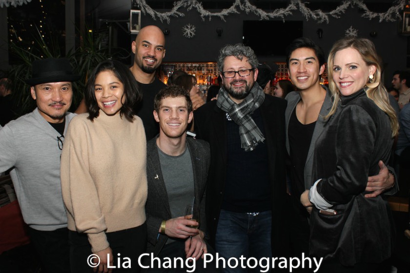 Jon Jon Briones, Nicholas Christopher, Eva Noblezada, Alistair Brammer, Laurence Connor, Devin Ilaw. Photo by Lia Chang