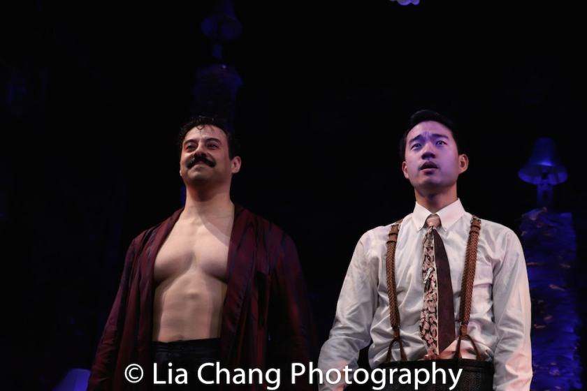 Juan Francisco Villa and Daniel K. Isaac during the opening night curtain call for THE GENTLEMAN CALLER at The Cherry Lane in New York on May 10, 2018. Photo by Lia Chang