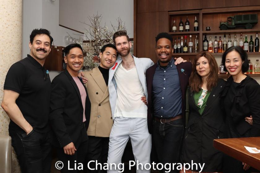 Juan Francisco Villa, Bryan Bosque, Daniel K. Isaac, Philip Dawkins, Keelay Gipson, Cori Thomas and Lia Chang. Photo by Garth Kravits