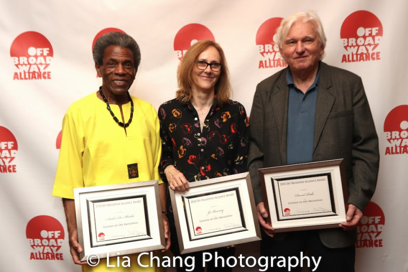 2018 Legend of Off Broadway Award recipients André De Shields, Jo Bonney and David Rabe at the Off Broadway Alliance Awards at Sardi's in New York on June 19, 2018 (not pictured: Mary Testa). Photo by Lia Chang