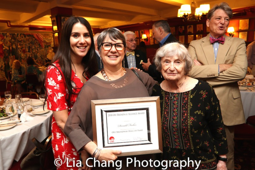 Donald C. Farber's granddaughter Miranda, daughter Patricia and wife Ann Farber at the 8th Annual Off Broadway Alliance Awards at Sardi's on June 19, 2018. Photo by Lia Chang