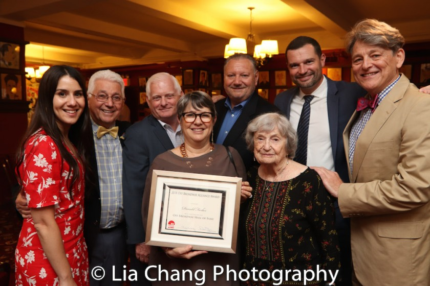 Donald C. Farber's granddaughter Miranda, daughter Patricia, wife Ann Farber and guests at the 8th Annual Off Broadway Alliance Awards at Sardi's on June 19, 2018. Photo by Lia Chang