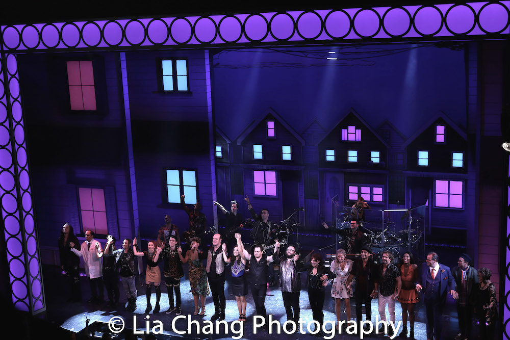 The opening night curtain call for GETTIN' THE BAND BACK TOGETHER at The Belasco Theatre in New York on August 13, 2018. Photo by Lia Chang