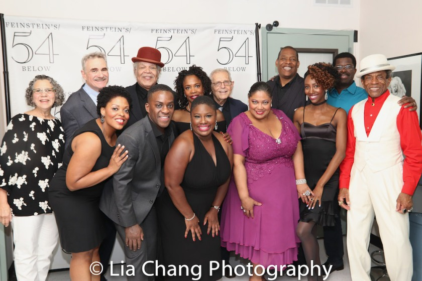 Murray Horwitz, Rheaume Crenshaw, Tyrone Davis, Jr., Ken Page, Johmaalya Adelekan, Charlayne Woodard, Richard Maltby, Jr., Cynthia Thomas, Tony Perry, Zurin Villenueva, Marshall Jones III and André De Shields. Photo by Lia Chang