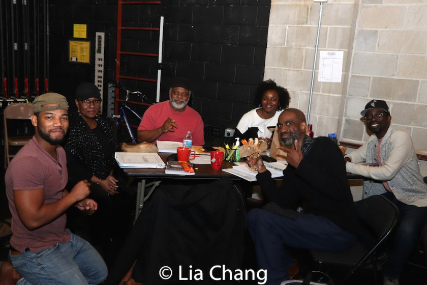 Blake Morris, Elain Graham, Harvy Blanks, Brittany Bellizeare, Charlie Hudson III and Brian D. Coats take a break from rehearsal on November 4, 2018. Photo by Lia Chang