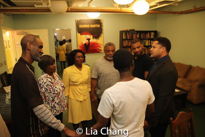 Brian D. Coats, Elain Graham, Brittany Bellizeare, Harvy Blanks, Blake Morris, Brandon J. Dirden and Charlie Hudson III in the pre-show prayer circle. Photo by Lia Chang
