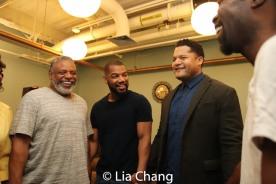 Harvy Blanks, Blake Morris, Brandon J. Dirden and Charlie Hudson III in the pre-show prayer circle. Photo by Lia Chang