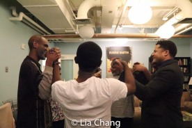 Brian D. Coats, Elain Graham, Brittany Bellizeare, Harvy Blanks, Blake Morris, Brandon J. Dirden and Charlie Hudson III in the pre-show prayer circle. Photo by Lia Chang