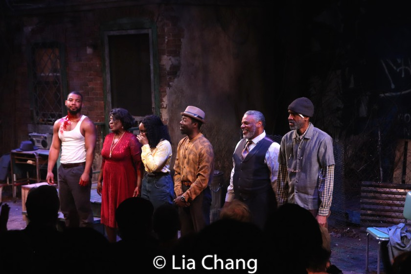 Blake Morris, Elain Graham, Brittany Bellizeare, Charlie Hudson III, Harvy Blanks and Brian D. Coats. Photo by Lia Chang