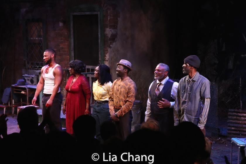 Blake Morris, Elain Graham, Brittany Bellizeare, Charlie Hudson III, Harvy Blanks and Brian D. Coats. Photo by Lia Chang