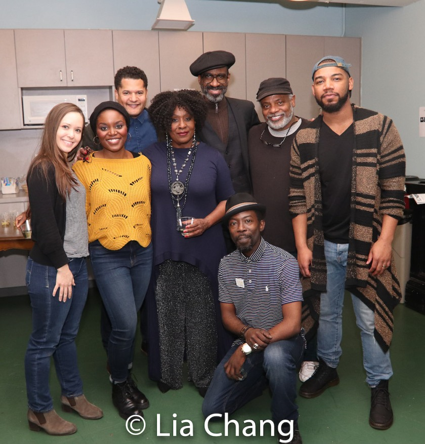 Laura Wilson, Brittany Bellizeare, Brandon J. Dirden, Elain Graham, Brian D. Coats, Charlie Hudson III, Harvy Blanks and Blake Morris. Photo by Lia Chang