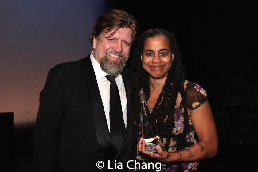 Oskar Eustis and 2018 Steinberg Distinguished Playwright Award winner Suzan-Lori Parks. Photo by Lia Chang