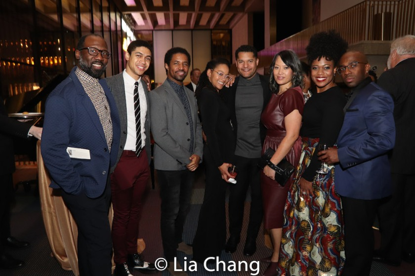 Russell G. Jones, Reynaldo Piniella, Amari Cheatom, Crystal A. Dickinson, Brandon J. Dirden, Elz Cuya Jones and Gillian Glasco. Photo by Lia Chang