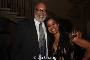 A guest and Suzan-Lori Parks. Photo by Lia Chang