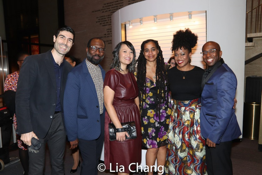 Louis Cancelmi, Russell G. Jones, Elz Cuya Jones, Suzan-Lori Parks, Gillian Glasco and Alfonso Johnson. Photo by Lia Chang
