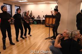 Mae Wong, Carol Gordon Morra, Takayo Fischer, musical director Ted Arthur, director and choreographer Alex Sanchez. Photo by Lia Chang
