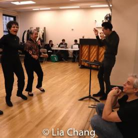 Mae Wong, Carol Gordon Morra, Takayo Fischer, musical director Ted Arthur, director and choreographer Alex Sanchez. Photo by Lia Chang