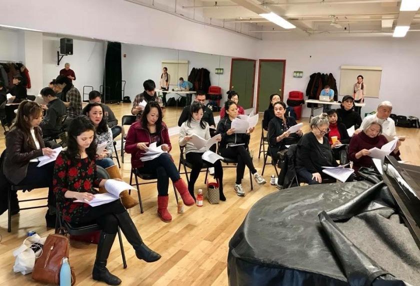 The RED BUCKET FOLLIES' FLOWER DRUM SONG company in rehearsal. Photo courtesy of Lainie Sakakura