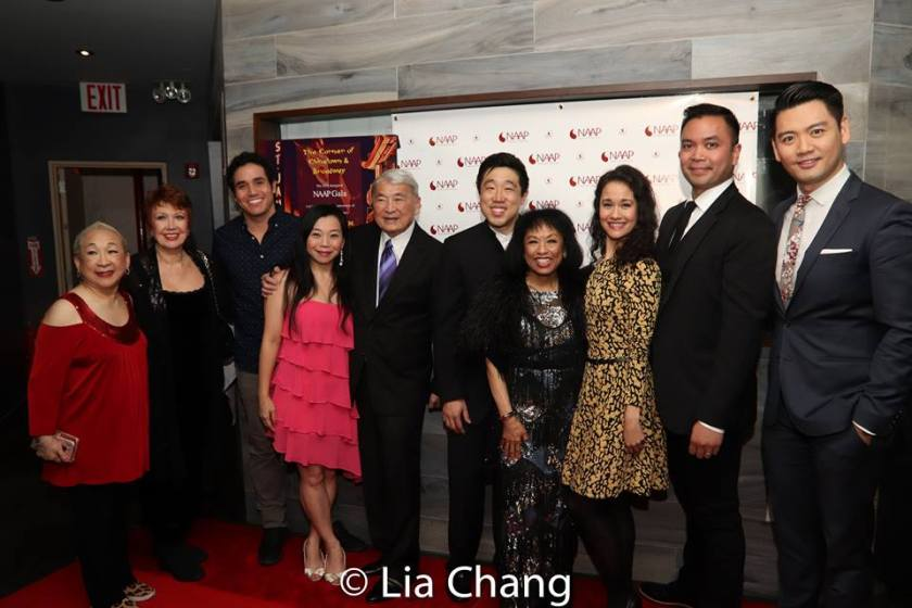 Lori Tan Chinn, Donna McKechnie, Adam Jacobs, Yuka Takara, Alvin Ing, Raymond J. Lee, Baayork Lee, Ali Ewoldt, Jose Llana and Karl Josef Co. Photo by Lia Chang