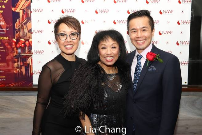 NAAP co-founders Nina Zoie Lam, Baayork Lee and Steven Eng at the NAAP Gala celebrating 60th Anniversary of Rodgers & Hammerstein's FLOWER DRUM SONG on December 2, 2018 at The Golden Unicorn on December 2, 2018. Photo by Lia Chang